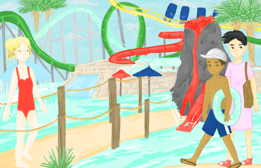 Illustration of people at a waterpark