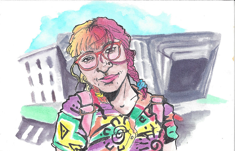 Illustration of Megan Reel in front of BAMPFA