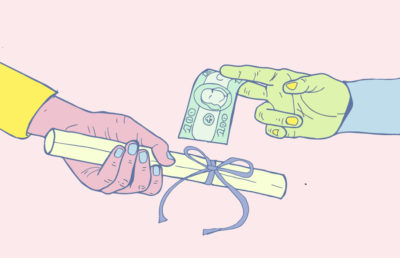 Illustration of hands exchanging a diploma for money