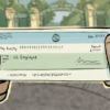 Illustration of hands holding a check in front of Sather Gate