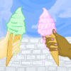 Illustration of two hands holding ice cream