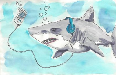 Watercolor illustration of a shark listening to music