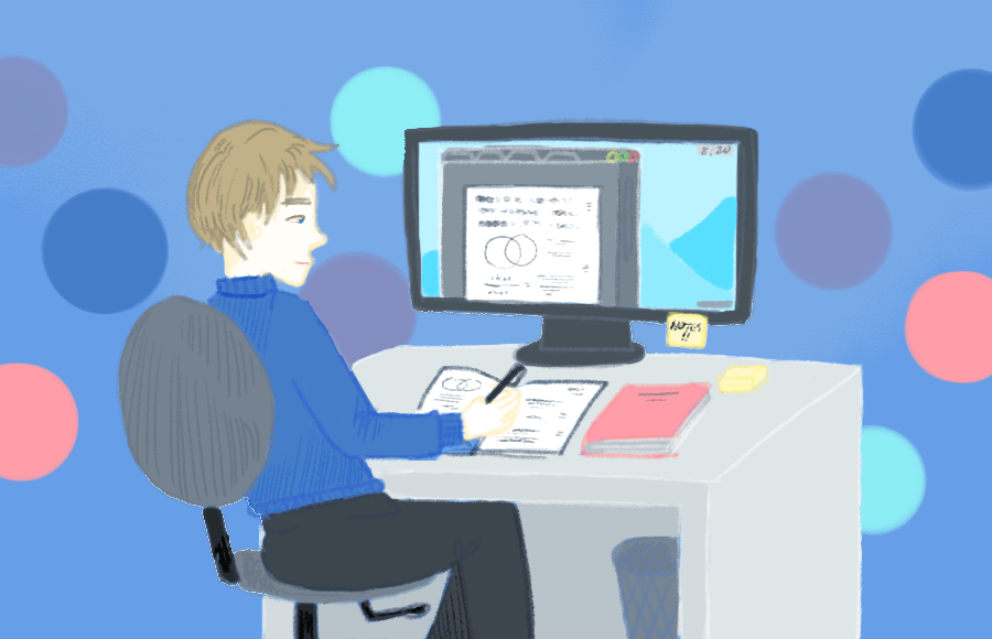 Illustration of a person looking at a computer