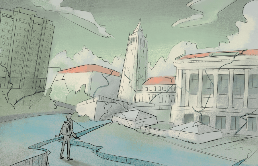 Illustration of a student on campus with cracks in the ground and buildings