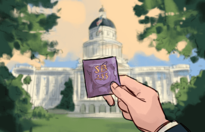 Illustration of a hand holding a condom in front of the California capital building
