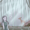 Illustration of forest with nymph and deer