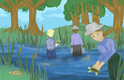 Illustration of people holding turtles in a lake