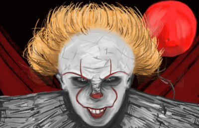 Illustration of clown from It
