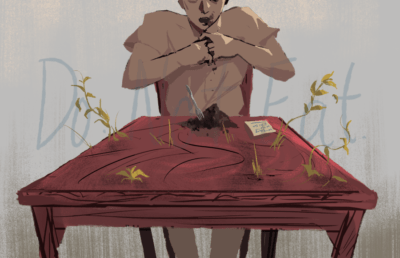 An illustration of a man eating a pile of brown crumbs, while weeds grow from his dining table