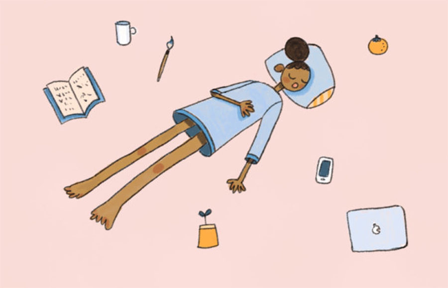 Illustration of person sleeping