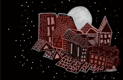 Illustration of houses in night sky