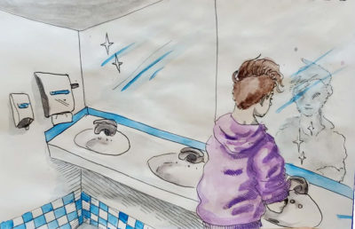 Illustration of person washing hands in bathroom