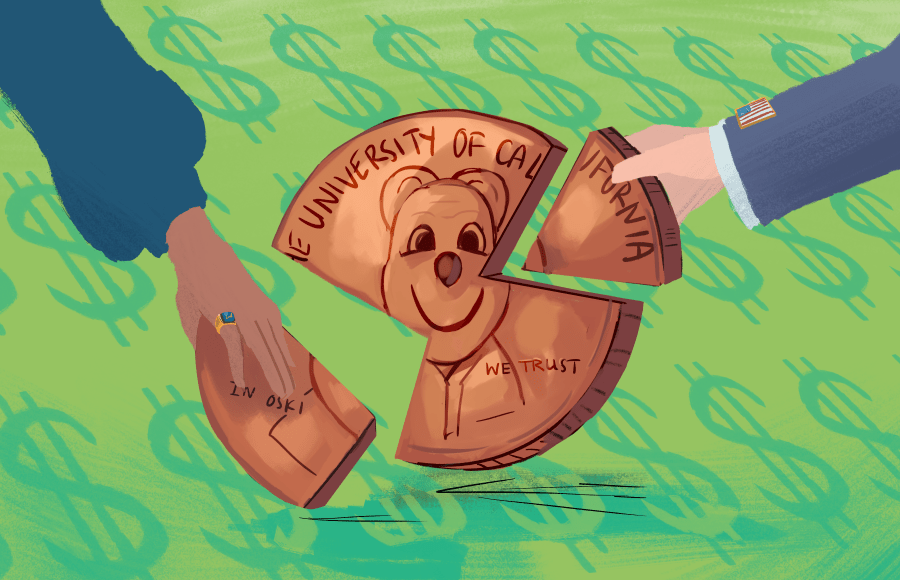 Illustration of coin with Oski being pulled into pieces