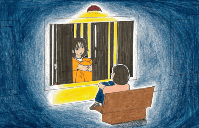 Illustration of person looking at photograph of themselves in jail
