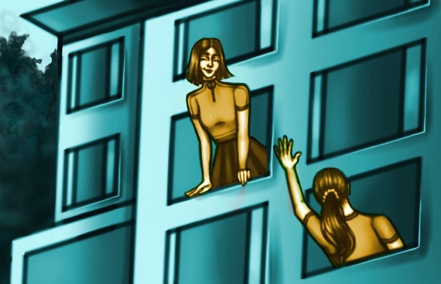 Illustration of people looking out dorm windows