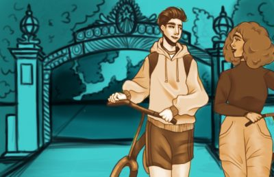 Illustration of people with bikes in front of Sather Gate