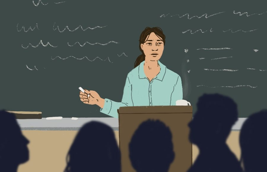 Illustration of a tired lecturer