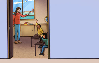 Illustration of teacher and students in classroom