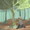 Illustration of person looking at tree with magnifying glass