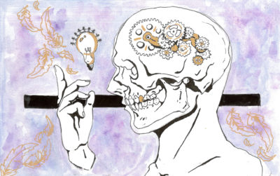 illustration of person with cogs in brain and lightbulb
