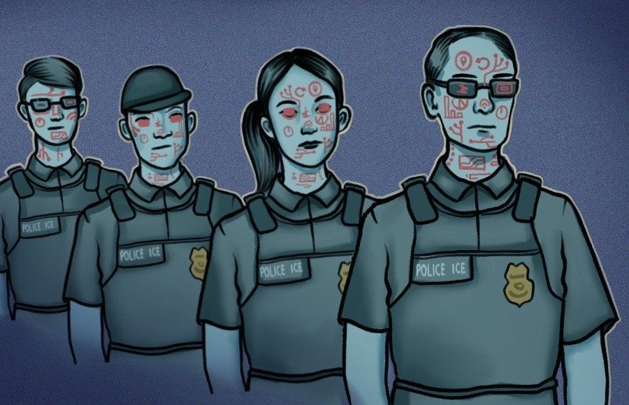 Illustration of ICE officers with tech symbols