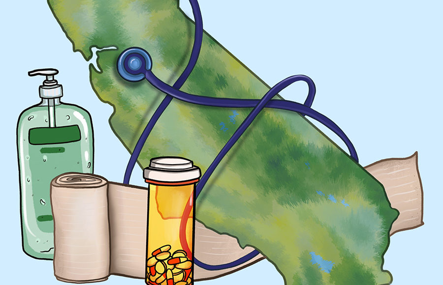 Illustration of California with pills, stethoscope, and hand sanitizer