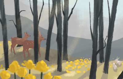 Illustration of forest with wildlife