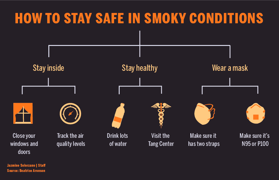 Infographic describing how to stay safe in smoky conditions
