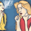 Illustration of person vaping and coughing