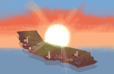 Illustration of California with sun behind it
