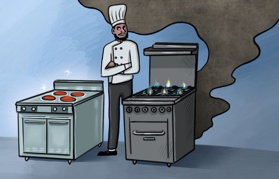 Illustration of chef standing between electric stove and gas stove