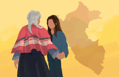 Illustration of grandmother and grandchild