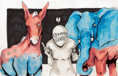 Illustration of Republican donkey and Democratic elephant with figure labeled Common Sense