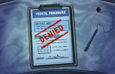 Illustration of medical forms that are stamped with the word Denied