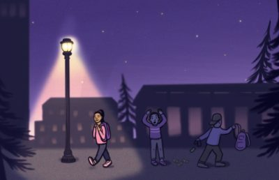 Illustration of person being robbed while another person walks under streetlight