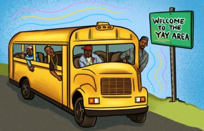 Illustration of Bay Area rappers in a school bus