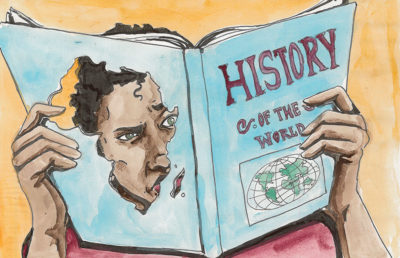 Illustration of person looking at book with Africa shaped hole