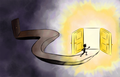 Illustration of person running into open door