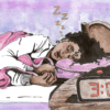 Illustration of a black woman sleeping in bed, with a digital clock reading 3:04 pm