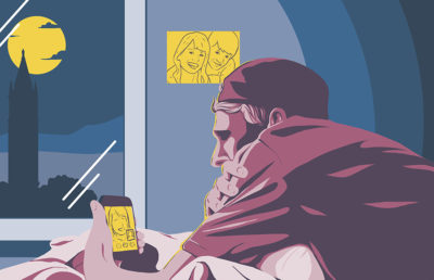 Illustration of person looking at phone