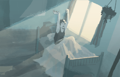 Illustration of person waking up in bed