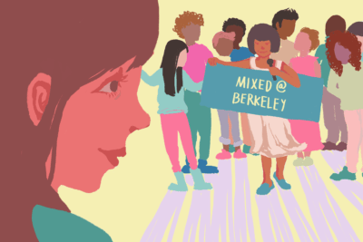 Illustration of people holding Mixed at Berkeley sign