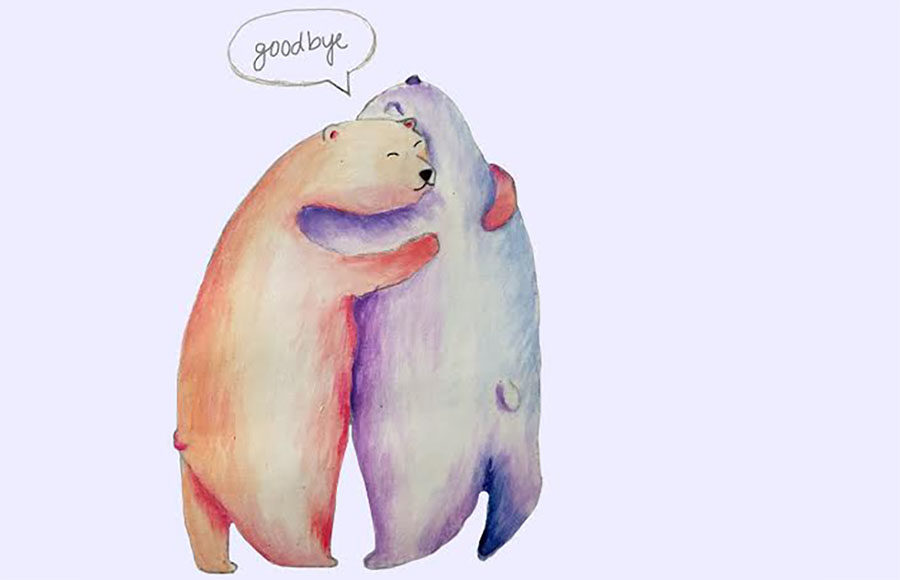 Illustration of bears hugging