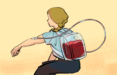 Illustration of a woman donating blood into a backpack