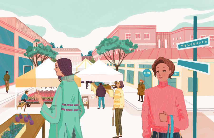 Illustration of people on Telegraph Ave for Best of Berkeley 2020