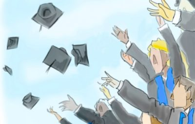 An illustration of college graduates throwing their graduation caps into the air