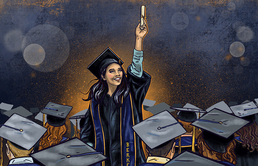 Illustration of a woman in graduation cap and gown triumphantly holding up a diploma