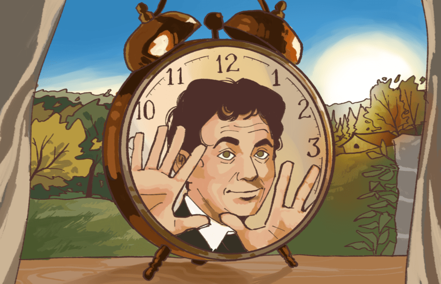 Illustration of alarm clock with man's face from Groundhog Day
