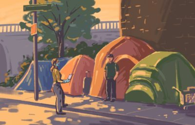 Illustration of people standing in front of homeless encampment