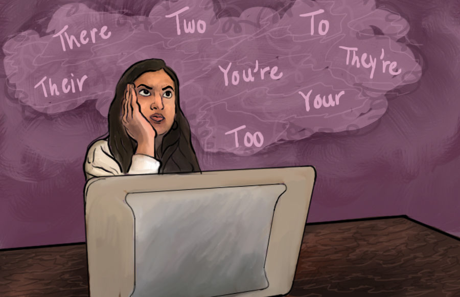 Illustration of girl thinking about grammar